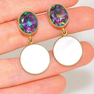 Charles Albert Alchemia Mystic Topaz and Abalone Shell Stud Earrings