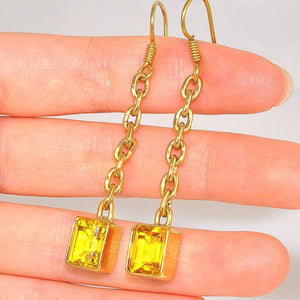 Charles Albert Alchemia Dangling Citrine Square Earrings