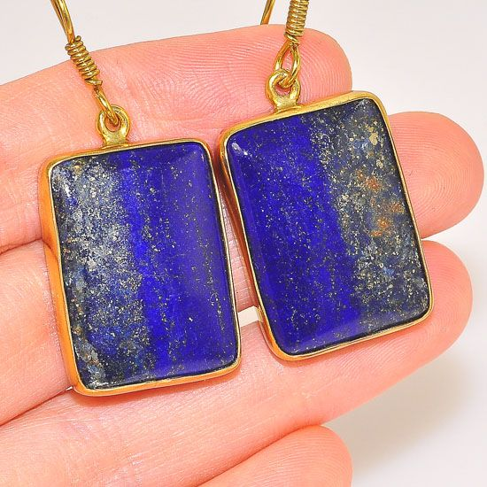 Bold Charles Albert Alchemia Lapis Lazuli Rectangle Hook Earrings