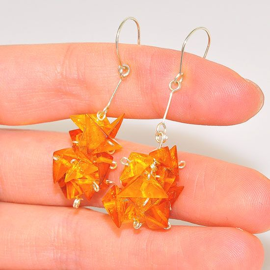 Sterling Silver Baltic Honey Amber Triangle Cluster Earrings