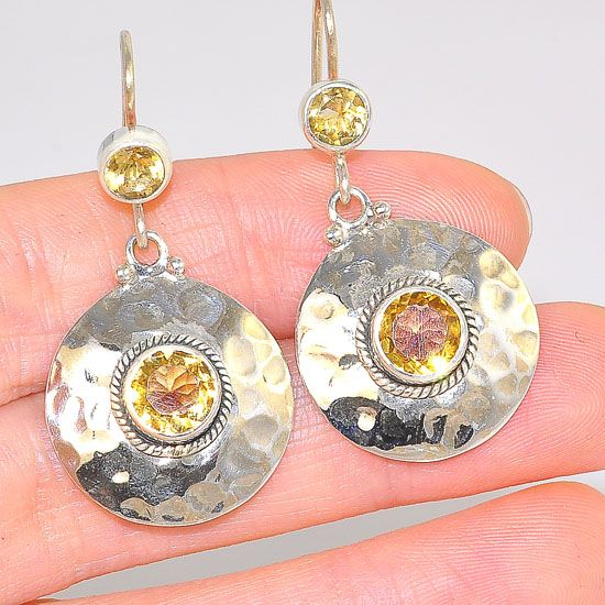 Sterling Silver India Citrine Gemstone Hammered Medallion Earrings
