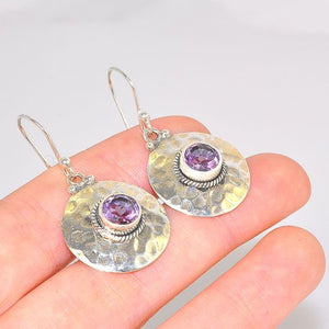 Sterling Silver India Amethyst Hammered Medallion Earrings