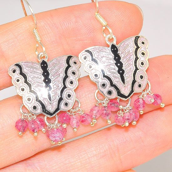 Sterling Silver India Pink Tourmaline Butterfly Dangling Earrings