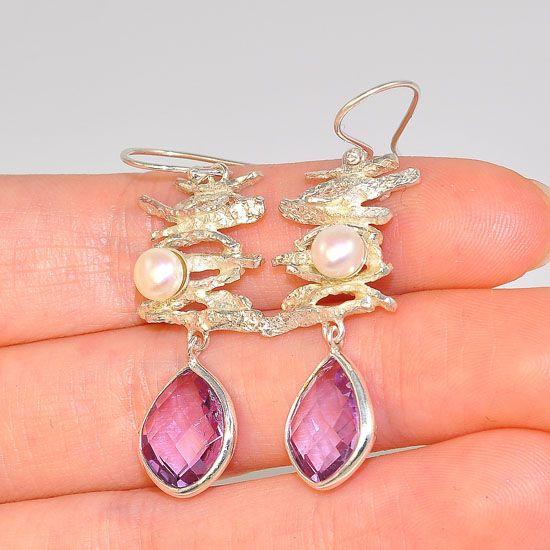 Sterling Silver Scattered Driftwood Freshwater Pearl and Amethyst Dangling Earrings