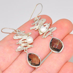 Sterling Silver Scattered Driftwood Freshwater Pearl and Smokey Quartz Dangling Earrings
