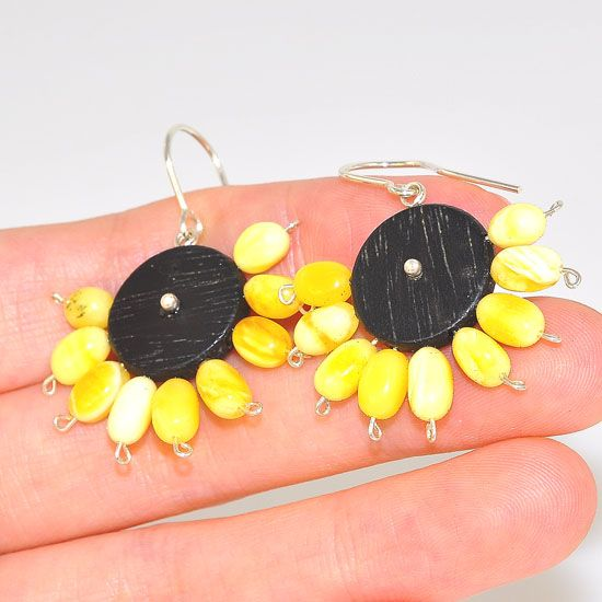 Sterling Silver Ebony Wood and Baltic Butterscotch Amber Tribal Earrings
