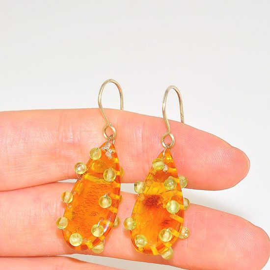 Sterling Silver Baltic Honey Amber and Peridot Bead Raindrop Earrings