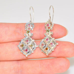 Sterling Silver Patterend Multicolored Tourmaline Exotic Earrings