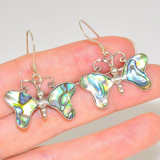 Sterling Silver Abalone Shell Carved Butterfly Earrings