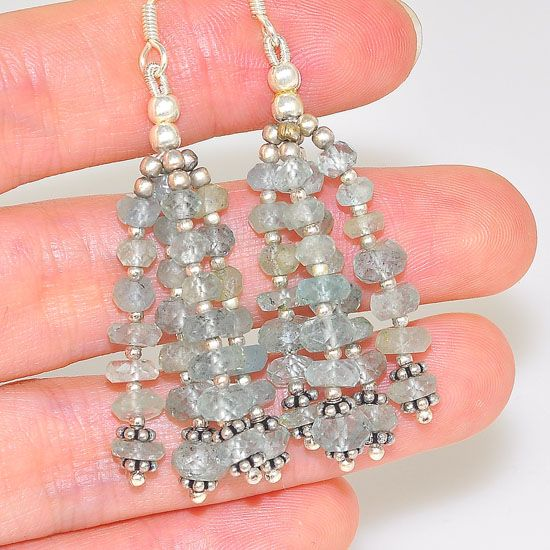 Sterling Silver Faceted Aquamarine Bead Dangling Earrings