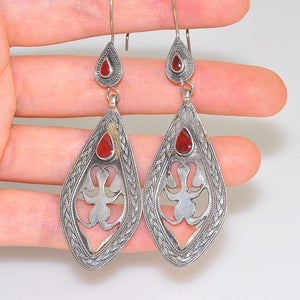 Afghan Sterling Silver Carved Plate Coral Dangling Earrings