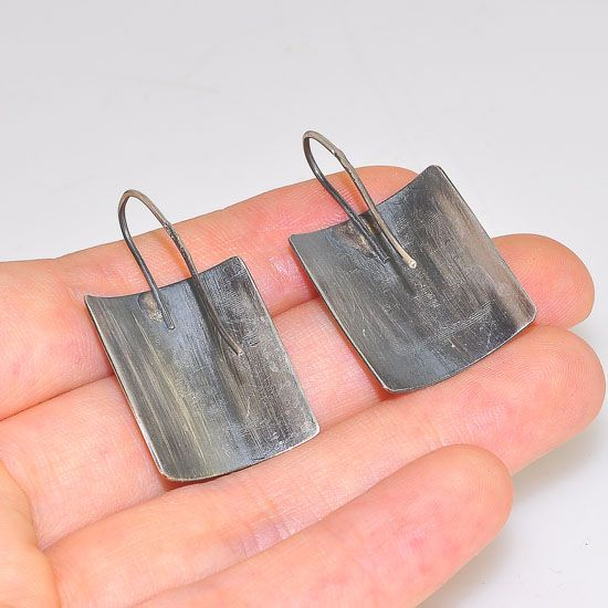 Oxidized Sterling Silver Geometric Maze Plate Hook Earrings