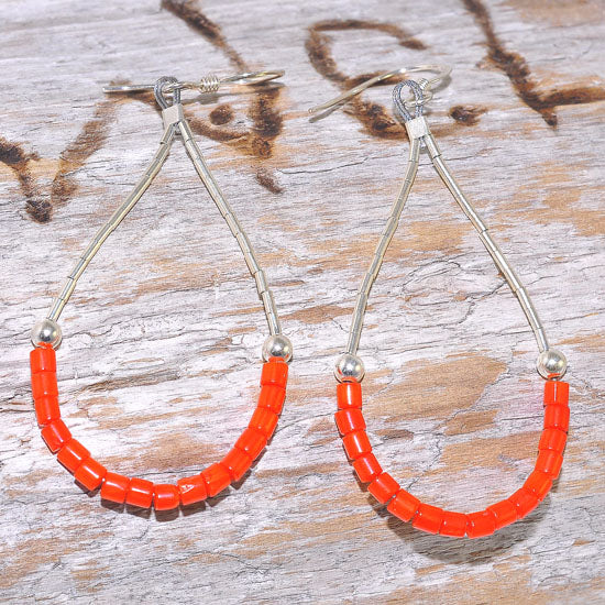 Sterling Silver Navajo Coral Beaded Dangling Earrings