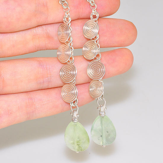 Sterling Silver Teardrop Prehnite Spiral Dangling Earrings