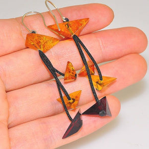 Sterling Silver Baltic Cherry Amber and Baltic Honey Amber Pyramid Thread Dangling Earrings
