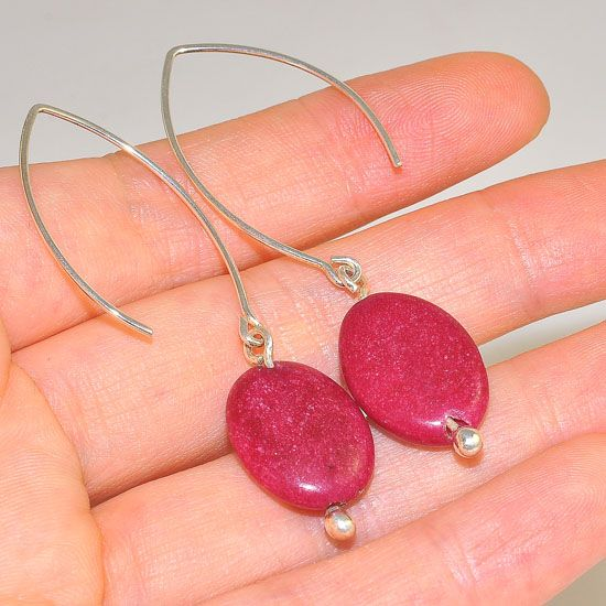 Sterling Silver Classic Ruby Oval Hook Earrings