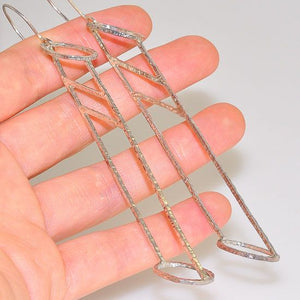 Sterling Silver Long Hammered Wire Cage Dangling Earrings