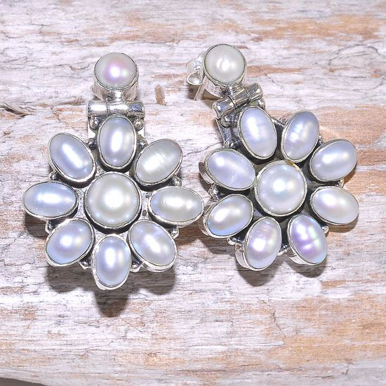 Sterling Silver Pearl Beaded Flower Stud Earrings