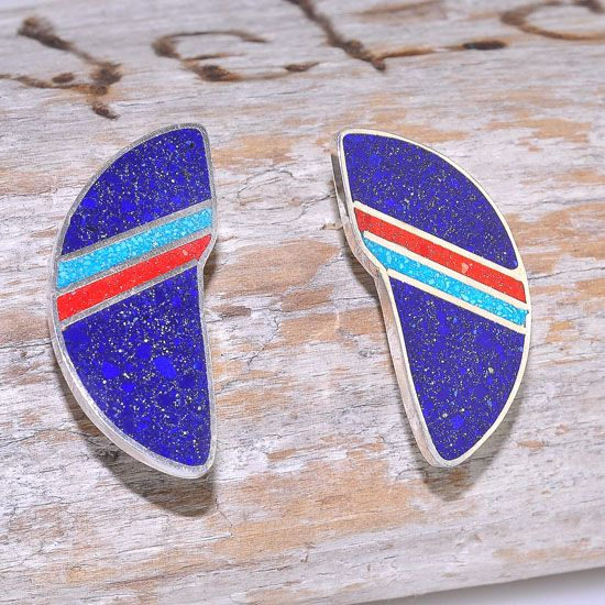 Sterling Silver Tibetan Lapis Lazuli, Turquoise and Coral Inlay Half Circle Stud Earrings