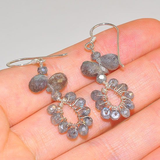 Sterling Silver Labradorite Gemstone Beaded Earrings