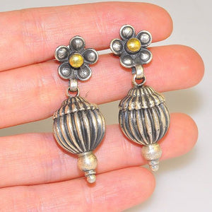 Sterling Silver India Melon Flower Stud Dangling Earrings