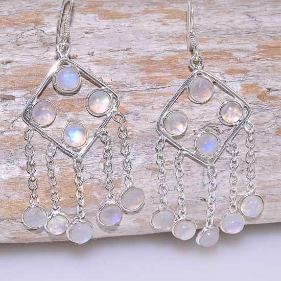 Sterling Silver Glowing Moonstone Dangling Hook Earrings