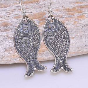 "2"" Long Sterling Silver Speckled Fish Design Hook Earrings"