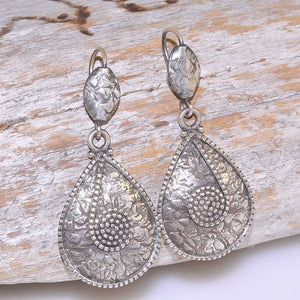 Sterling Silver Exotic Tribal Hammered Raindrop Plate Hook Earrings