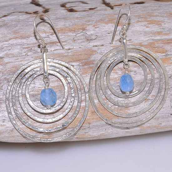 Sterling Silver Hammered Nest Disk and Aquamarine Nugget Earrings