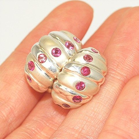 Sterling Silver Pink Topaz Huggie Earrings