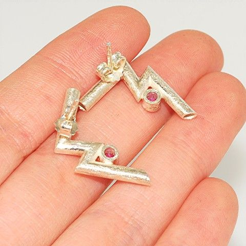 Sterling Silver, Ruby Earrings