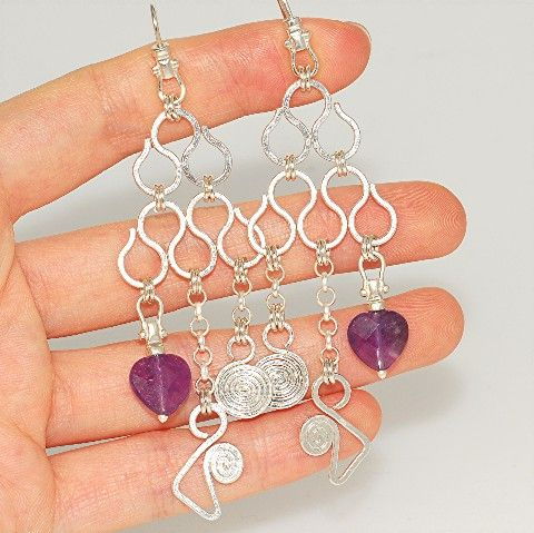 Sterling Silver, Amethyst Dangle Earrings