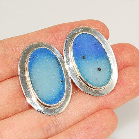 Charles Albert Sterling Silver, Blue Druzy Clip-on Earrings