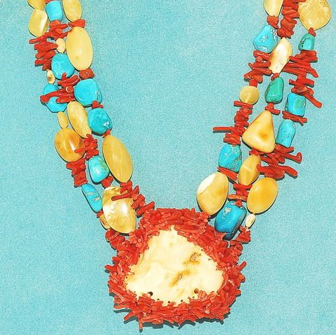 Baltic Butterscotch Amber, Turquoise Nugget, Red Coral 3-Strand Necklace