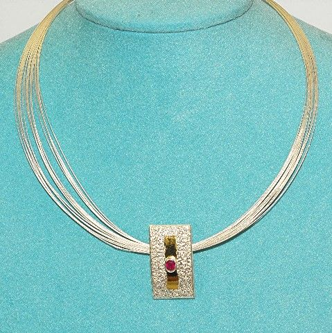22 K Gold Vermeil, Sterling Silver, Ruby Necklace