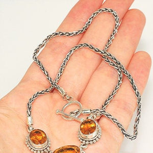 Sterling Silver, Citrine Chain Necklace