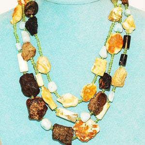Baltic Multi Amber, Peridot and Larimar 3-Strand Necklace