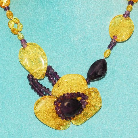 Baltic Citrine Amber and Amethyst Necklace