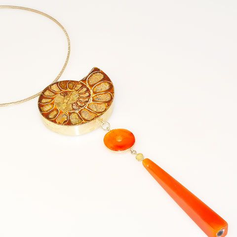 Sterling Silver Fossil Ammonite and Carnelian Dangle Necklace