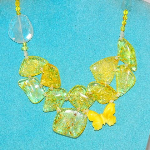 Baltic Amber and Aquamarine Butterfly Necklace