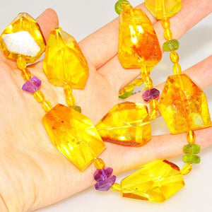 Baltic Amber, Amethyst and Peridot Chunky Necklace