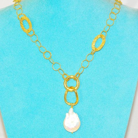 22 K Gold Vermeil and Free Form Pearl Necklace