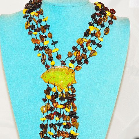 5-Strand Baltic Multi Amber Dangle Necklace