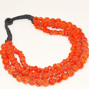 Glass Faux-Coral Bead Tibetan 3-Strand Necklace