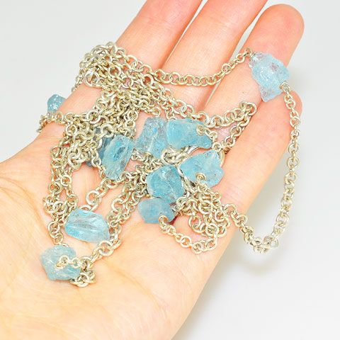 Sterling Silver Rough Aquamarine Chain Necklace