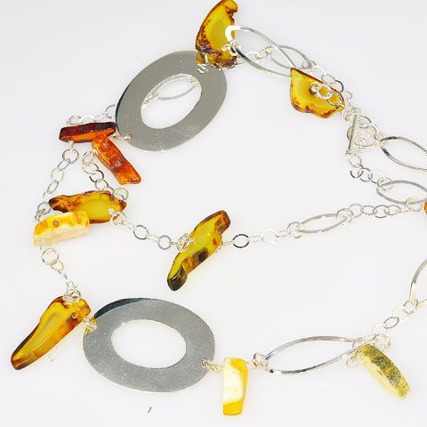 Sterling Silver Baltic Multi Amber Necklace