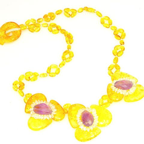 Baltic Honey Amber, Amethyst and Aquamarine Necklace