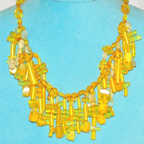 Baltic Honey Amber and Aquamarine Bead Fringe Necklace