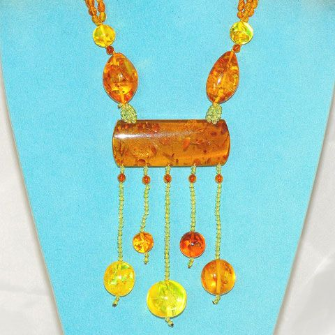 Baltic Honey Amber and Peridot Necklace