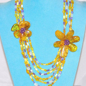 Baltic Multi Amber, Aquamarine and Amethyst Flower Pendant
